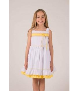 Vestido Blanco y Amarillo Loan Bor