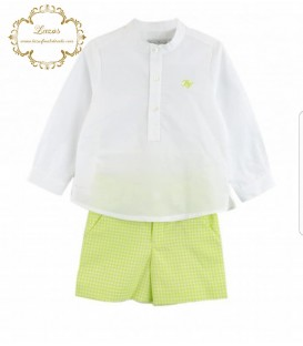 Conjunto Niño Vichy Verde Balnca Valiente