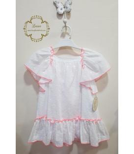 Vestido Blanco y Coral Baby Yiro