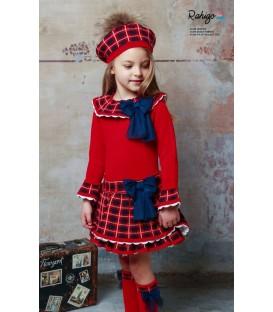 Vestido Rahigo Rojo y Marino